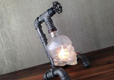 crystal pipes metal skull steampunk lamp