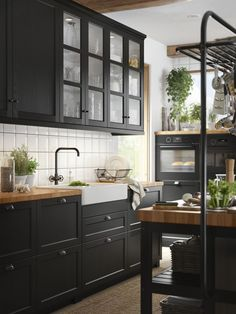 Ikea Kitchen Faucet – New Kitchen Ideas Collection Black Kitchen Cabinets, Black Kitchens, Home Kitchens, Ikea Kitchens, Black Ikea Kitchen, Wood Kitchen Countertops, Dark Cabinets, Black Kitchen Sinks, Kitchens With Color