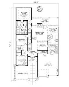 European Style House Plan - 4 Beds 3 Baths 1875 Sq/Ft Plan #17-122 Floor Plan - Main Floor Plan - Houseplans.com