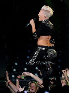 Pink Singer P!nk performs at the Staples Center on October 13, 2013 in Los Angeles, California.