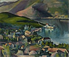 Jadranski predeo(1919) ByPetar Dobrović (Pécs, 1890 - Belgrade, 1942,)  was a famous Serbian painter and politician born in Austro-Hungarian Empire (today Hungary).  A proponent of Serbian colorism, he was known for portraits and landscapes.