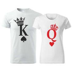 Potlač na bavlnených tričkách pre páry, ktorá určite zožne úspech. Tričká sú vhodné pre všetky páry. Potlač znázorňuje kráľa a kráľovnú v podobe ako sú znázornení na kartách. Potlač kartový kráľ a kráľovná sú super voľbou a ideálnym darčekom. Onesies, Clothes, Fashion, Outfits, Moda, Clothing, Fashion Styles, Kleding, Babies Clothes