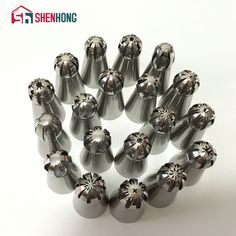 19PC / Set Russian Stainless Steel Icing Piping Nozzles Sphere Ball Shape Pastry Tips Cake Decorating Decoration Baking Tool