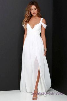2400260359372 2019 Beyaz Şifon Elbise Modelleri Uzun Askılı Düşük Kol V Yakalı Yırtmaçlı