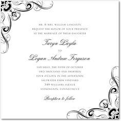 Pen and Ink Corner Designs - Signature White Wedding Invitations in Black, Purple, Red & More