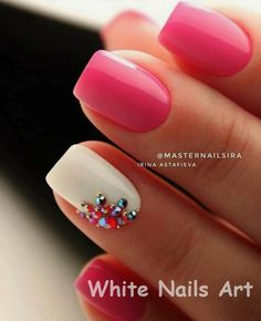 White Nails and Artistic Nail Styles 1 – The Best Nail Designs – Nail Polish Colors & Trends Shellac Nails, Pink Nails, Acrylic Nails, Nail Polish, Pink White Nails, Orange Nail, Stiletto Nails, Hair And Nails, My Nails