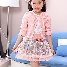 Girl's Spring/Fall Micro-elastic Medium Long Sleeve Clothing Sets ( Cotton Blends/Lace/Mesh ) – USD $ 31.50