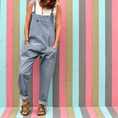 Corduroy Dungarees Steel Grey by Lucy and Yak in medium
