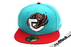 VANCOUVER GRIZZLIES Teal Red 59Fifty New Era Fitted Hat 286278456c55