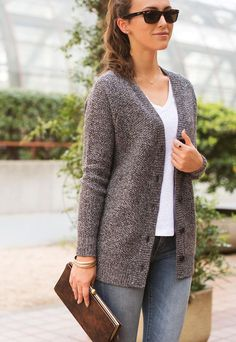 """Our women's cardigan sweater: 40% merino wool, 30% cashmere, 30% poly, and 8"""" deep pockets for even the biggest of iPhones. It's a classic."""