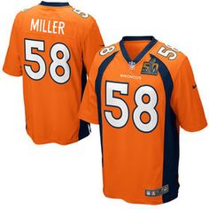 Men's Denver Broncos Von Miller Nike Orange Super Bowl 50 Bound Game Jersey
