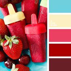бордовый, желтый, красный, оттенки красного, подбор цвета для вечеринки, светло-голубой, солнечный желтый, теплый желтый, цвет вишни, цвет ягод, яркий голубой, яркий красный.