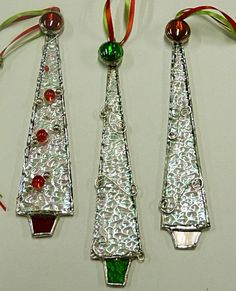 Whimsical Icicle Stained Glass Christmas Tree Ornaments. $23.00, via Etsy.