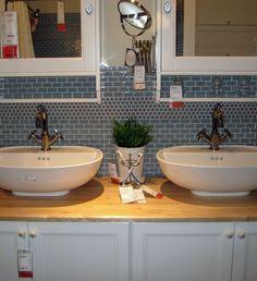 bathroom vanity backsplash tile; subway and penny rounds
