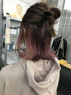 Pin on Hair dye colors Long Hair Highlights, Hair Color Streaks, Hair Dye Colors, Hair Color Blue, Under Hair Color, Hidden Hair Color, Under Hair Dye, Hair Color Underneath, Korean Hair Color