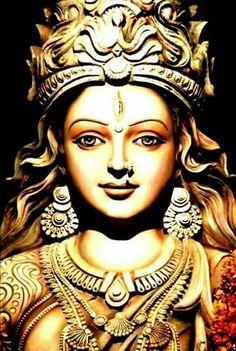 Shakti                                                                                                                                                     More Saraswati Goddess, Durga Maa, Goddess Art, Goddess Lakshmi, Shri Mataji, Shiva Art, Shiva Shakti, Krishna Art, Hindu Art