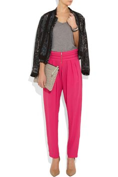 pink pants, grey tank, black jacket - Riches for Rags