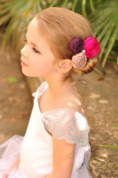 Cute purple & fuchsia hair accessory for flower girl!
