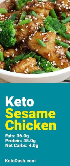 Trying this Sesame Chicken and it is delicious. What a great keto recipe. #keto #ketorecipes #lowcarb #lowcarbrecipes #healthyeating #healthyrecipes #diabeticfriendly #lowcarbdiet #ketodiet #ketogenicdiet