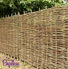 Papillon™ Hazel Hurdles Fencing Panel Woven from coppiced hazel to a traditional pattern, this beautiful, robust and eco-friendly hazel fence panel will make a perfect practical addition to your garden. Bring a part of the countryside to your ve Fence Panels For Sale, Garden Fence Panels, Front Yard Fence, Fence Art, Garden Fencing, Trellis Panels, Dog Fence, Willow Fence Panels, Horse Fence
