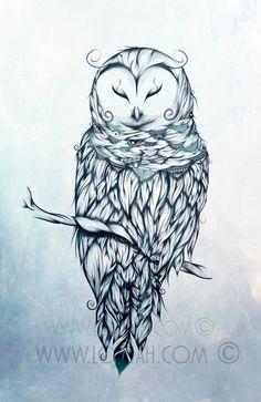 LouJah - Snow Owl  #art #loujah #digital #illustration #draw #drawing #dessin #boho #tattoo #owl #snowowl #animals