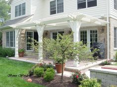 ~ Living a Beautiful Life ~ White Cute Pergola Attached to House Plans With Wood Pergola Building Materials