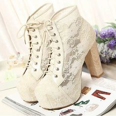 Beautiful Lace Chunky Heel Ankle Boots