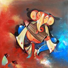 Artist Name: M Singh, Title: Musician Ganesha Bhajans Mandali, Lot No.: 70479, Medium: Acrylic on Canvas, Size: 24X24, INR 25,000 / $ 458