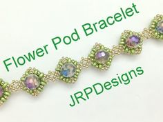Flower Pod Bracelet--Beginner to Intermediate beading tutorial, left handed Materials 6 to 9 eight mm beads superduos seedbeads Beaded Jewelry Designs, Seed Bead Jewelry, Craft Jewelry, Easy Beading Tutorials, Beaded Bracelets Tutorial, Beads And Wire, Beading Patterns, Left Handed, Ring Tutorial
