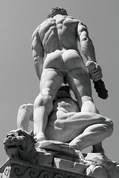 Hercules and Cacus sculpture by Baccio Bandinelli on Piazza della Signoria in Florence, Italy. 1534.