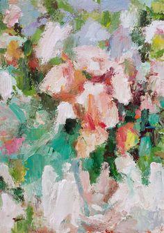 "Saatchi Art Artist: Nava Lundy; Acrylic 2015 Painting ""Peach Garden Roses"""