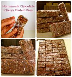 Homemade Chocolate Cherry Protein Bars Chocolate Covered Fruit, Chocolate Cherry, Homemade Chocolate, Granola Cookies, Cherry Bars, Arbonne Nutrition, Homemade Granola Bars, Healthy Food, Healthy Recipes