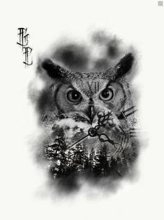 For booking details Email… gregcampbelltatto… - Tatuering Shark Tattoos, Skull Tattoos, Body Art Tattoos, Tatoos, Owl Tattoo Design, Tattoo Designs, Realistic Owl Tattoo, Buho Tattoo, Eagle Drawing