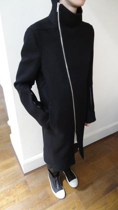 Visions of the Future // Rick Owens black men's stand collar coat with asymmetrical zipper and arm zipper detail.