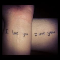 """I love you"" tattoos in each others' handwriting. AFTER marriage. kinda cool idea"