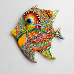 Fish Wall Art, Fish Art, Polymer Clay Fish, Diy Crafts Love, Nautical Wall Decor, Talavera Pottery, Hand Built Pottery, Ceramic Wall Art, Art Deco Posters