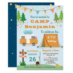 Boys Camping Birthday Outdoors Camp Out Party Invitation #products #workouts #cooking camping ideas, camping equipment, camping acampar, back to school, aesthetic wallpaper, y2k fashion Camping Party Invitations, Grey Wedding Invitations, Birthday Party Invitations, Custom Invitations, Invitation Design, Invites, Boy Birthday Parties, Birthday Fun, Outdoor Birthday