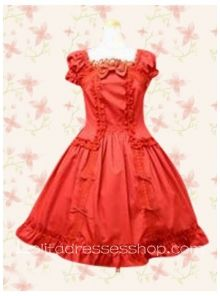 Red Cotton Square Cap Sleeves Empire Classic Lolita Dress With Bow and Ruffles Style