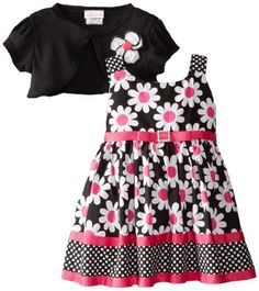 Youngland Baby-Girls Infant Daisy Print Woven Dress with Shrug