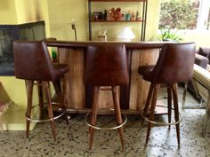 Totally Rad Mid Century Rolling Bar & Stools by greencycledesignLA, $875.00