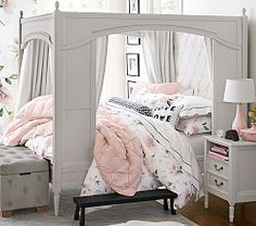 Pottery Barn Kids Blythe Carriage Bed Water-Based Vintage Gray // Pottery Barn Kids buy more save more sale Teenage Bedroom Decorations, Bedroom Ideas For Teen Girls, Teen Girl Bedrooms, Big Girl Rooms, Pottery Barn Kids, Treehouse Loft Bed, Carriage Bed, Big Beds, Mattress Sets