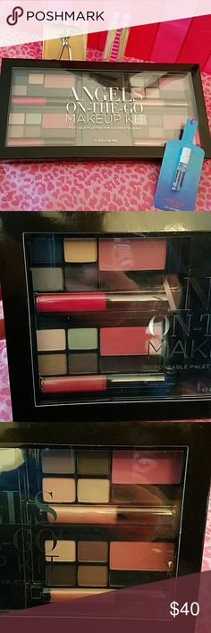 VS ANGELS ON THE GO MAKE UP KIT BUNDLE!! This stunning authentic limited edition VS make up kit has 16 eye shadows, 4 blushes, 4 gel eye liners, 4 lip glosses, 2 applicators, and the whole thing is in its own hard- cased clear top compact.  TRAVEL READY!!  includes free limited edition VS lash curler and tweezers!  I an also including a FULL SIZE Very Sexy Now Parfum solid fragrance!! No more deciding which make up to bring on spring break--this kit has ALL the looks!!! **Trusted Seller-I…