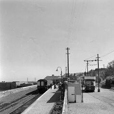 Train & tram, Howth, Co. by O'Dea, James P. photographer Published / Created: [March In collection: O'Dea Photograph Collection Images Of Ireland, Old Trains, Dublin Ireland, Old Photos, Past, Scenery, Street View, Buses, Places