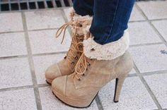 Shoes: high heels beige winter autumn closed toe