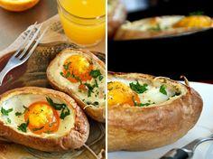 12 Egg-cellent Eats for Easter Brunch | Brit + Co.  Baked Eggs in Potato Nest