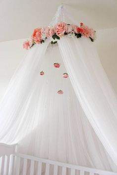 Beautiful Pink and White Crib or Bed Canopy with Roses and hanging crystals and peonies and flowers Crib mobile  Crib decor  Nursery decor  Room decor  Bedroom decor Bedroom ideas  Little girls room decor and ideas  Baby's room Pink nursery Floral nursery Nursery ideas  Girls nursery