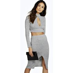 Boohoo Lana Keyhole Knitted Co-Ord With Split Front Skirt ($30) ❤ liked on Polyvore featuring skirts, grey, crop skirt, pattern skirt, grey skirt, print skirt and gray skirt