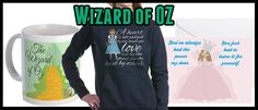 Wizard of Oz Shop! Buy the greatest movie gifts. Great Dorothy and Glinda quotes on pretty t-shirts, mugs, magnets, and pillows. There's no place like home. Just follow the yellow brick road.