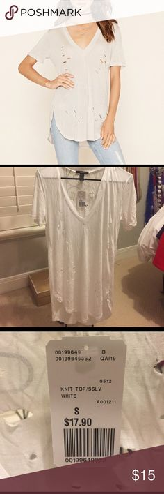 Distressed tshirt from forever 21 I took too long to return it, it's in perfect shape. never worn. just didn't fit me right. could be dressed up or down! Tops Tees - Short Sleeve