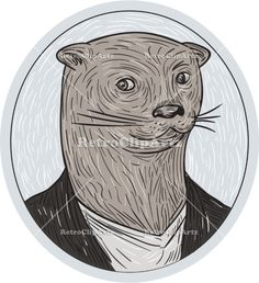 Otter Head Blazer Shirt Oval Drawing Vector Stock Illustration. Drawing sketch style illustration of an otter head wearing shirt and blazer facing front set inside oval shape. #illustration #Otterhead